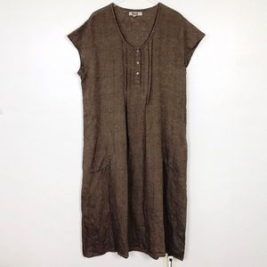 FLAX Brown Linen Maxi Dress L